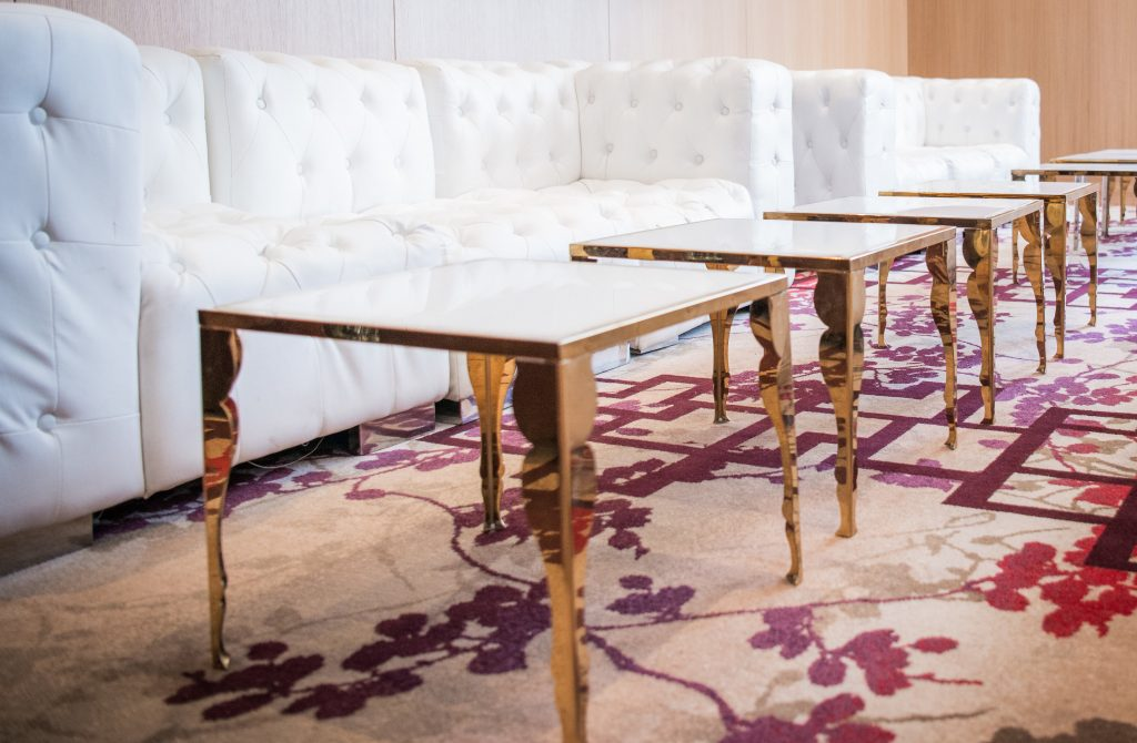 Wedding Academy - white and gold furniture from Luxe Rentals at Shangri-La Toronto