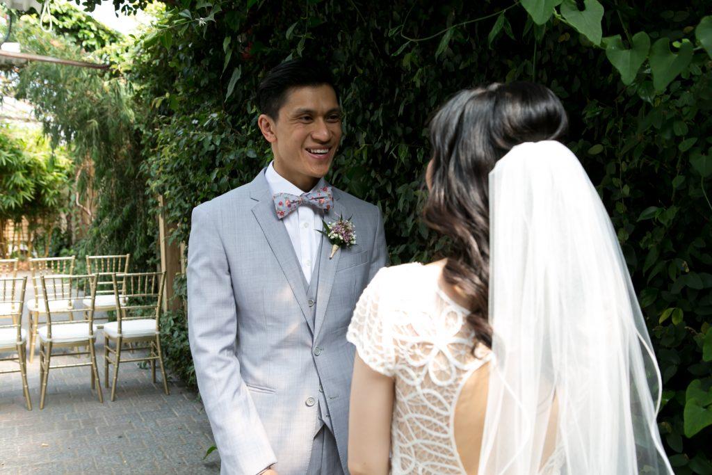 Elegant Madsen's Greenhouse wedding - first look