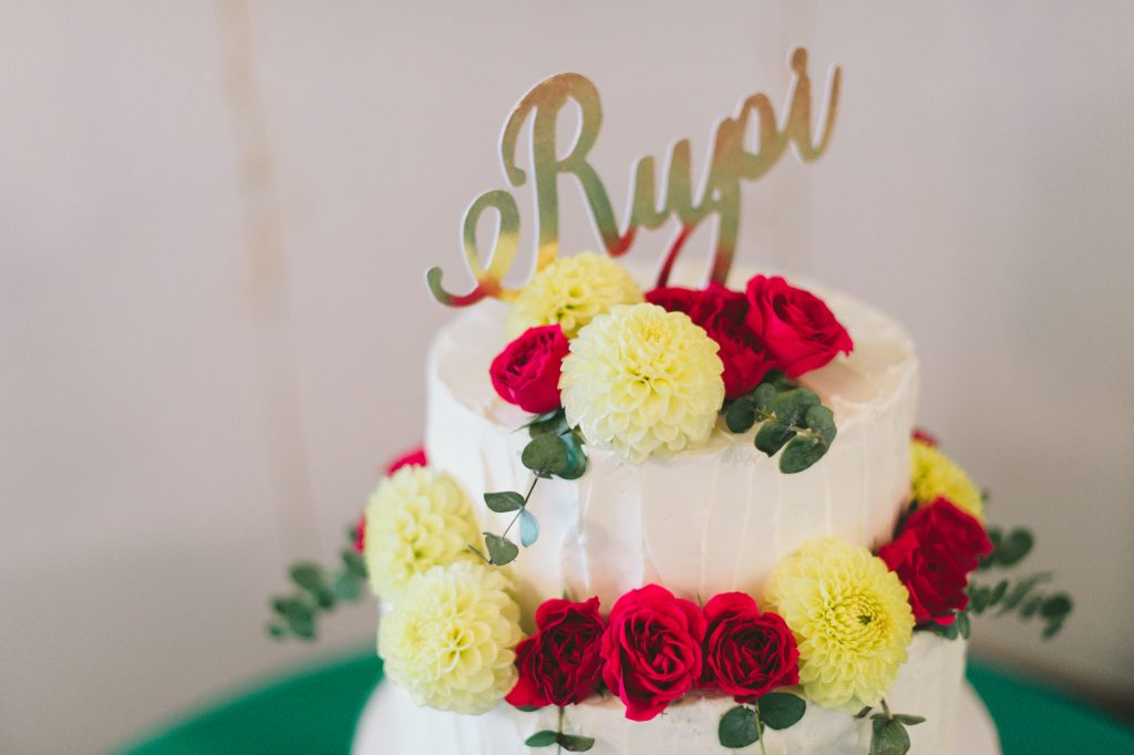Buttercream frosted cake for a private party for Rupi Kaur