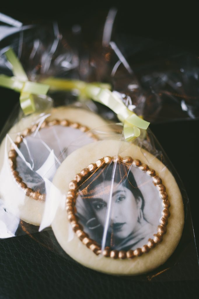 Private party for Rupi Kaur - Elegant place card alternatives with photo cookie favours