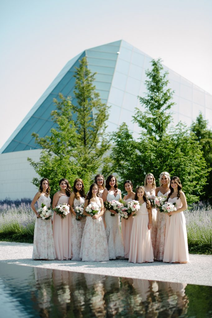 Wedding party portraits at Aga Khan Museum