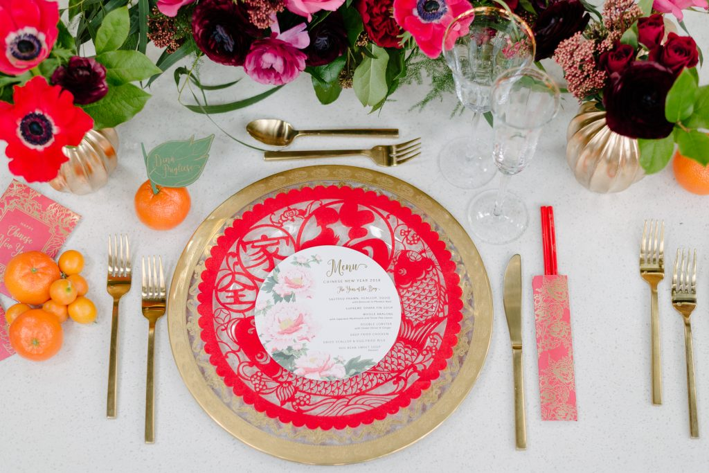Custom designed peony menu - Chinese New Year decorating ideas as seen on Breakfast Television with Rebecca Chan Weddings and Events www.rebeccachan.ca