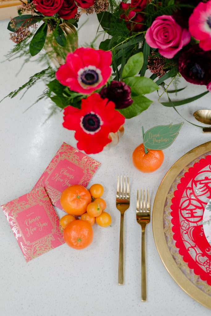 Bring in gold tabletop rentals - Chinese New Year decorating ideas as seen on Breakfast Television with Rebecca Chan Weddings and Events www.rebeccachan.ca