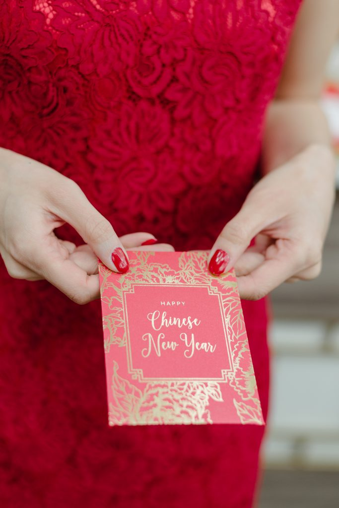 Custom designed red pocket envelope - Chinese New Year decorating ideas as seen on Breakfast Television with Rebecca Chan Weddings and Events www.rebeccachan.ca