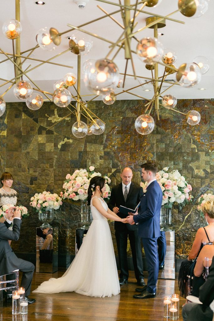 Romantic Blush Wedding Ceremony at Canoe Restaurant