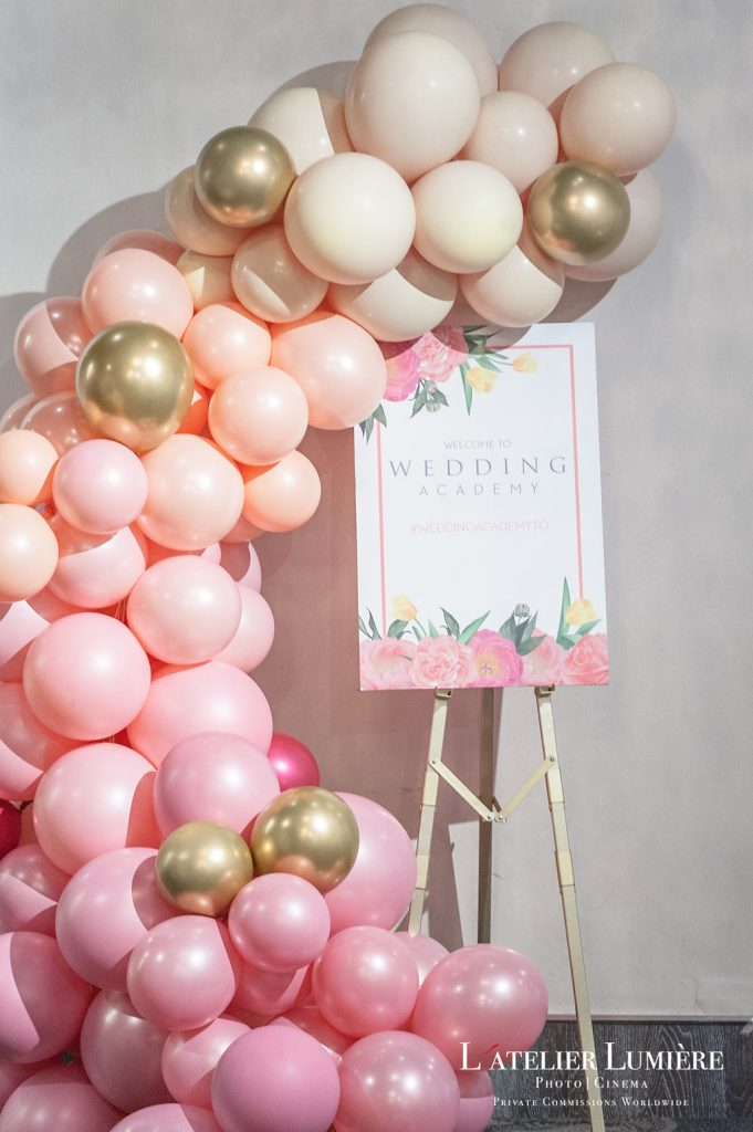 Wedding Academy at Arcadian Loft - soft pastel balloon spill from Ettridges