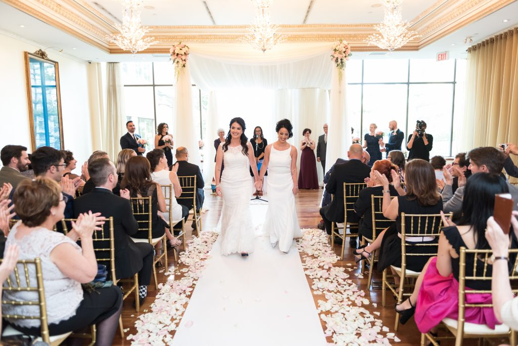 Elegant wedding with two brides at Rosewater Room