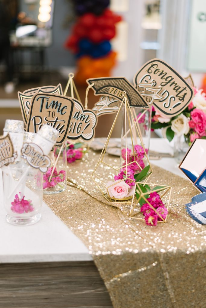 Custom grad selfie props - Cityline Prom Special Party Planning tips with Rebecca Chan Weddings and Events. and Tracy Moore