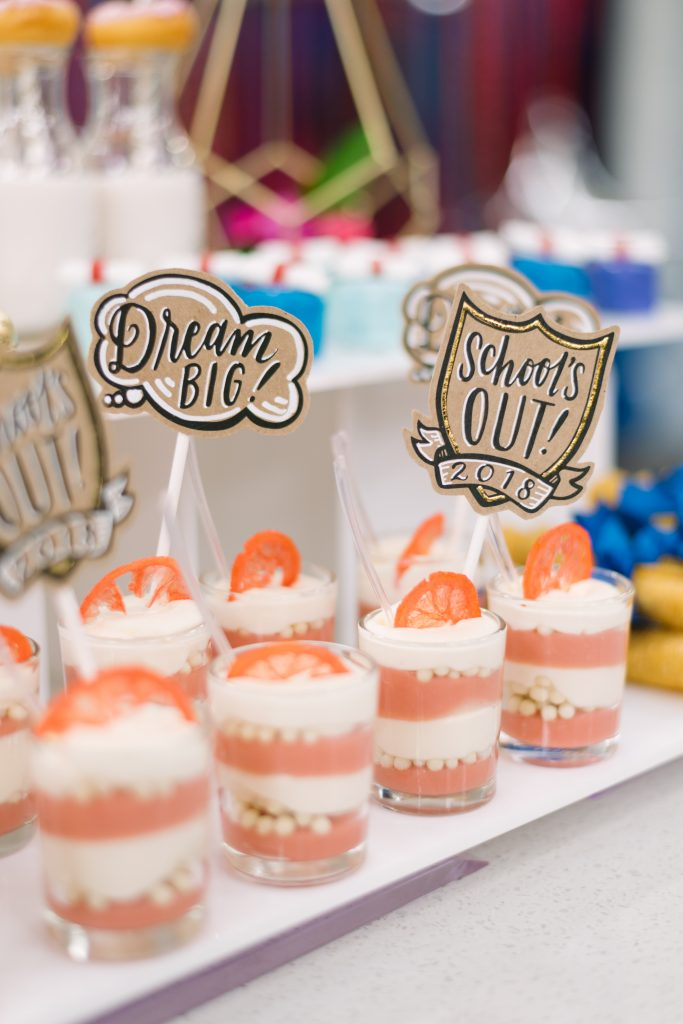Lemonade parfaits with cute grad toppers - Cityline Prom Special Party Planning tips with Rebecca Chan Weddings and Events. and Tracy Moore