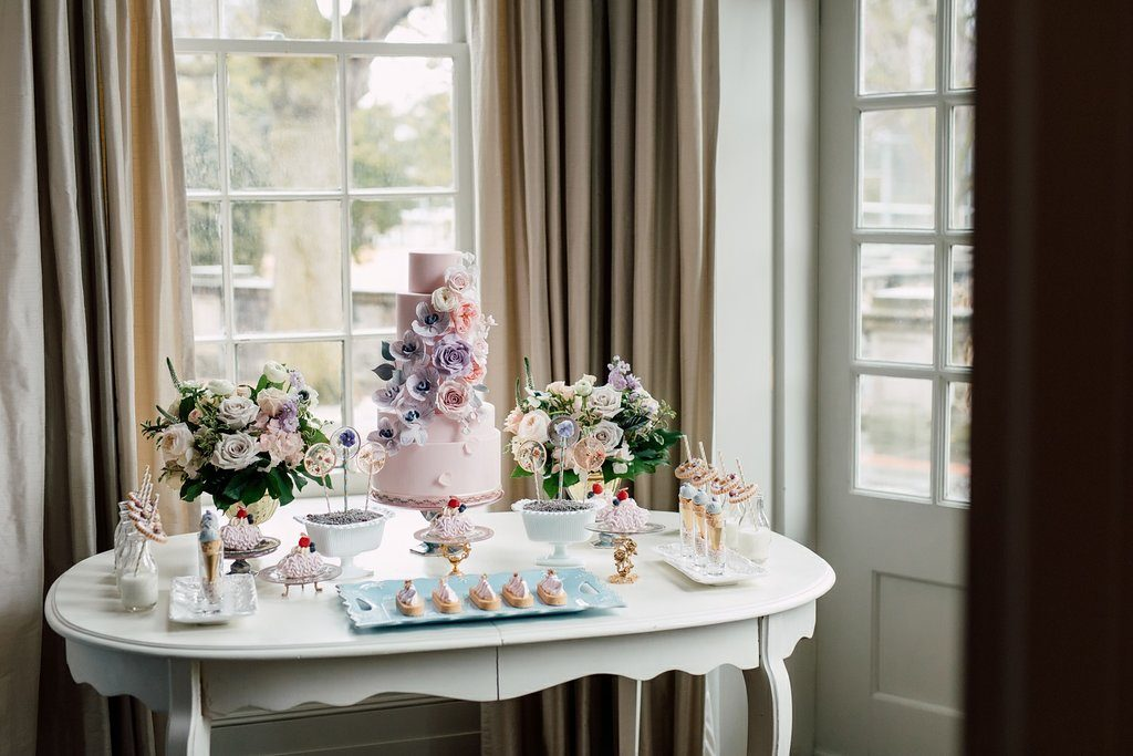 Today's Bride styled shoot - Romantic Indoor Garden Wedding Sweets Table, styled by Rebecca Chan Weddings and Events