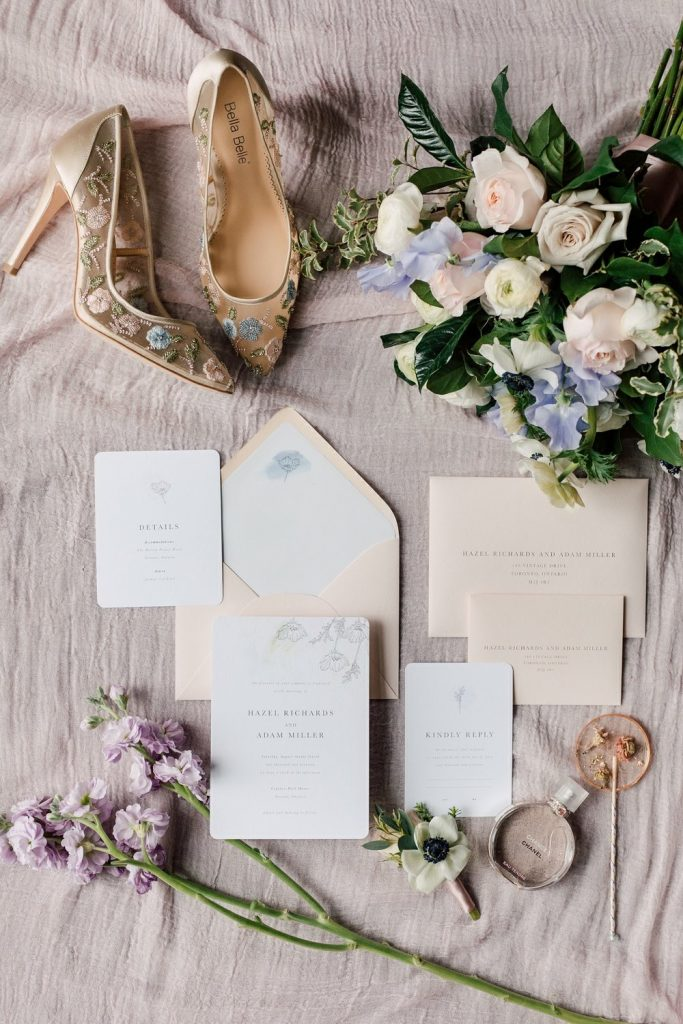 Today's Bride styled shoot - Romantic Indoor Garden Wedding Stationary Flatlay, styled by Rebecca Chan Weddings and Events