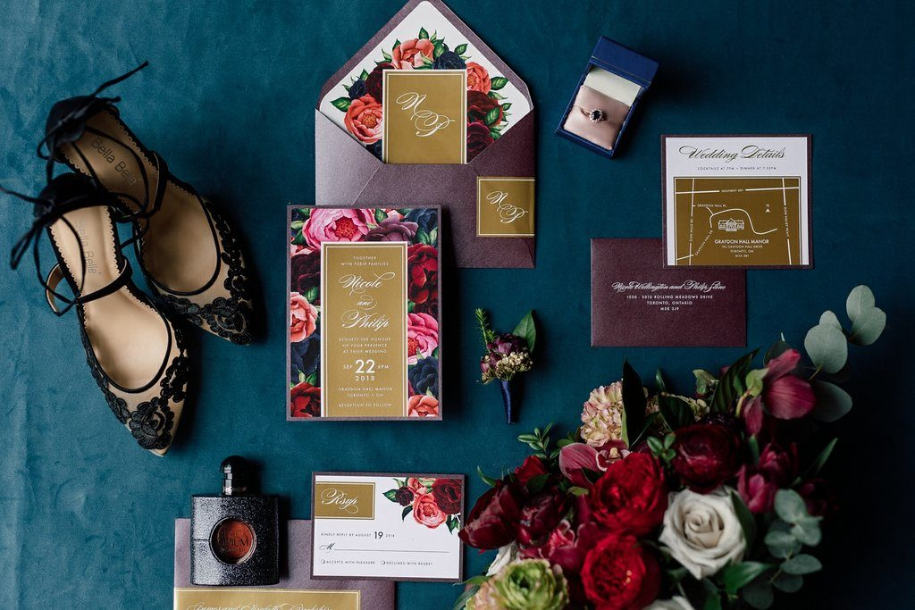 Moody and Dramatic Styled shoot for Today's Bride - Stationary flat lay, Styled by Rebecca Chan Weddings and Events