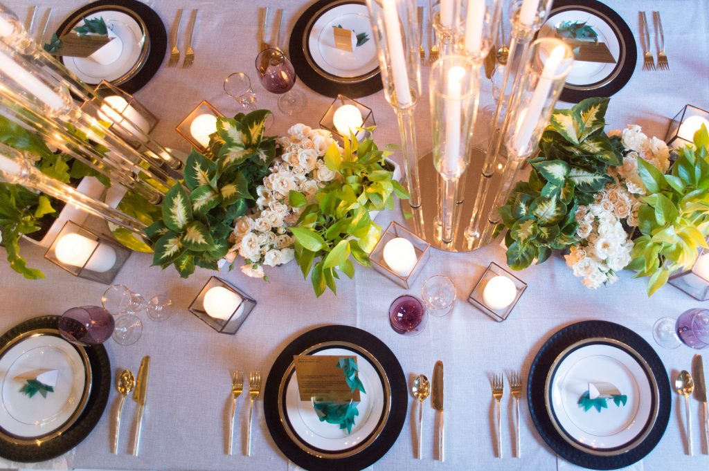 Modern foliage and candlelight styled shoot at Cluny Bistro