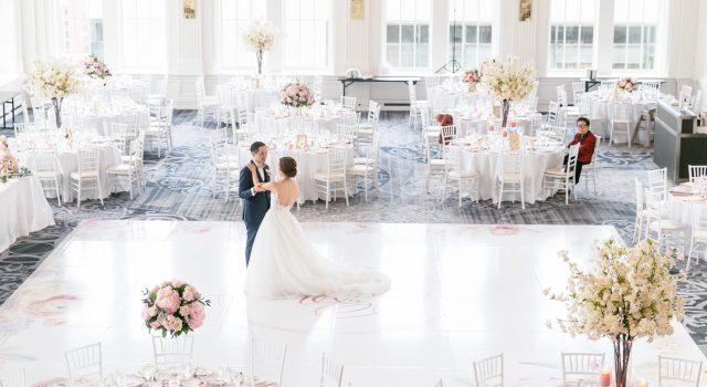 Stunning blush and lavender wedding at King Edward Hotel's Crystal Ballroom