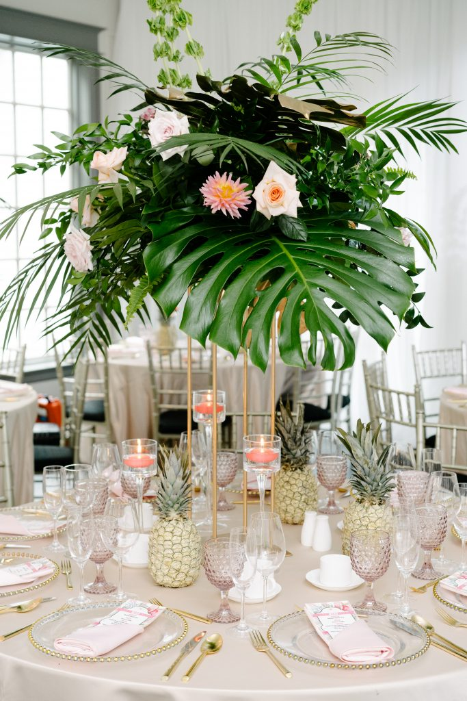 Tropical Centrepieces - Epic Coachella Inspired Wedding Reception at Doctor's House