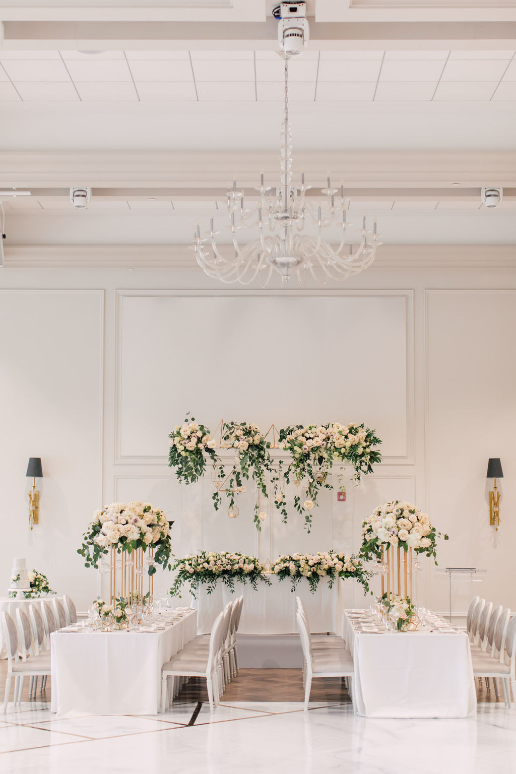 Modern garden wedding with marble and gold accents at Arlington Estate