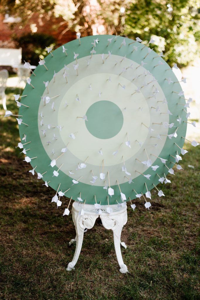 Arrow seating chart at Kurtz Orchards Farm Wedding