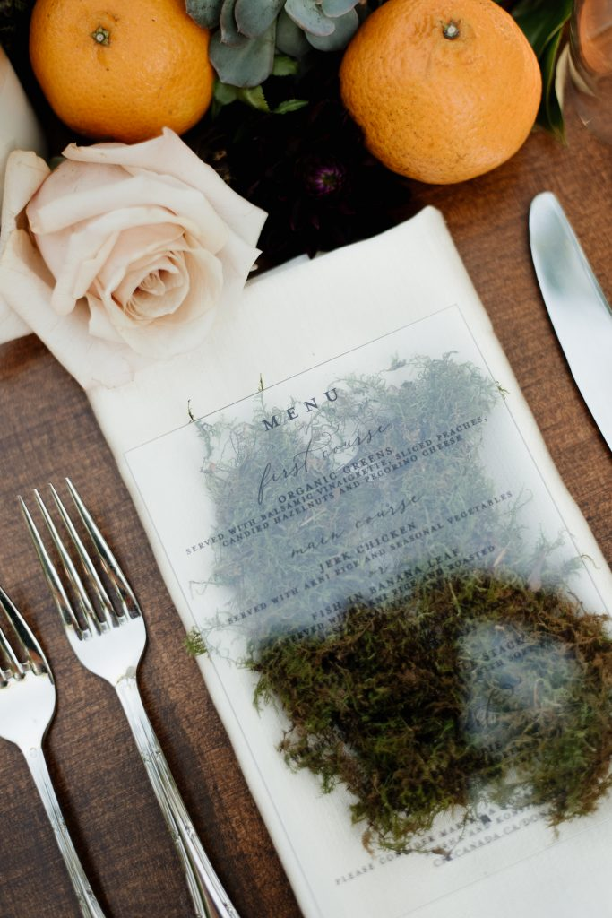 Acrylic and Moss Menu at Outdoor Rustic Boho-Chic Wedding at Kurtz Orchards Farm