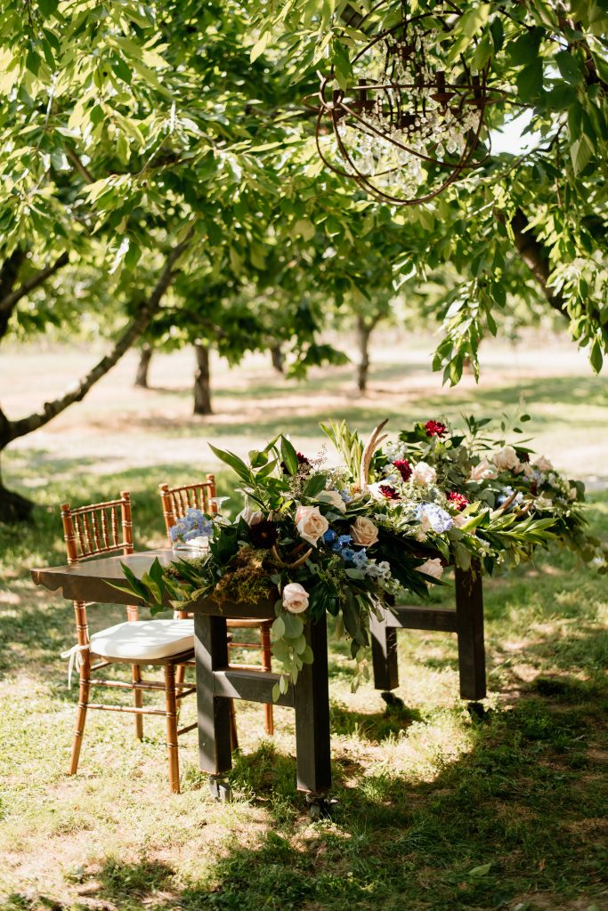 Outdoor Rustic Boho-Chic Head Table at Kurtz Orchards Farm Wedding