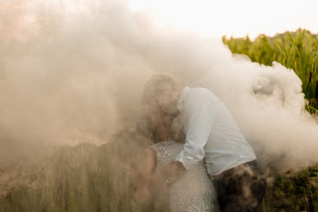 Fun Boho-Chic Wedding Photos with Smoke Bomb at Kurtz Orchards Farm