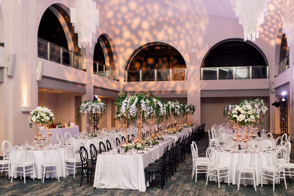 Modern black and white wedding at Arcadian Court, as seen in Wedluxe
