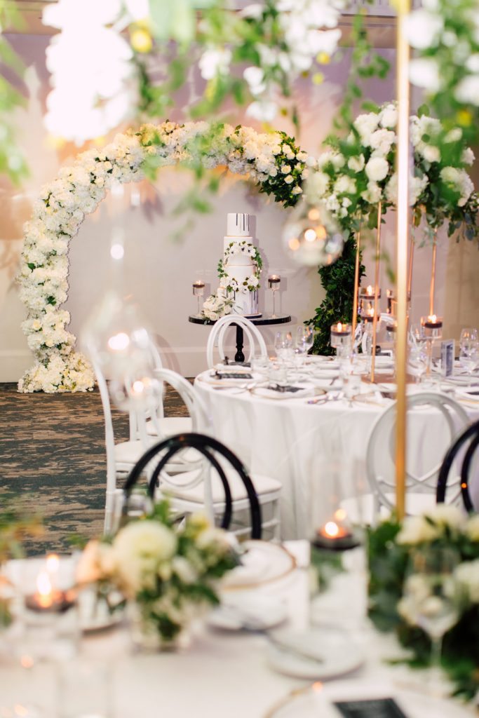 Modern black and white wedding at Arcadian Court, as seen on Wedluxe