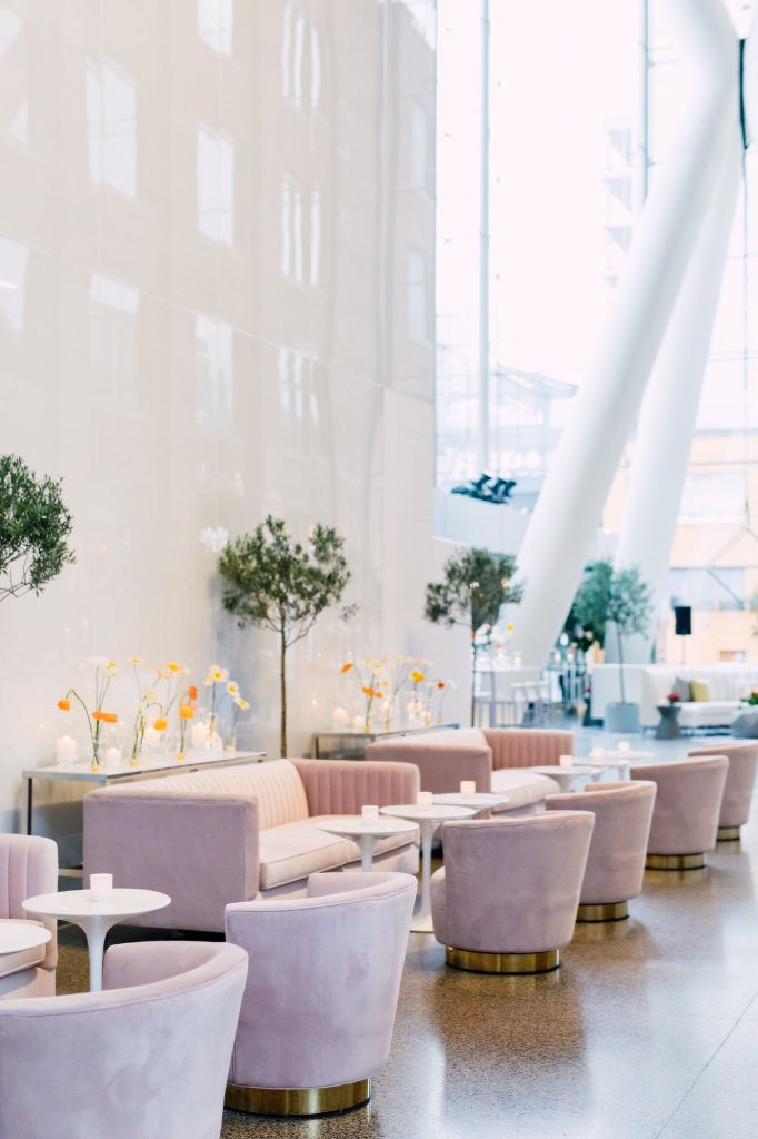Whimsical spring decor and blush sofas - Eventsource Industry Bash at Ricarda's
