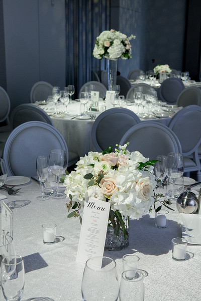 White and blush blooms at Chateau le Parc wedding