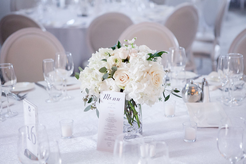 Romantic winter wedding reception at Chateau le Parc