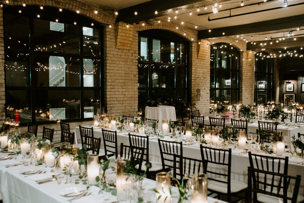Storys building rustic candlelight wedding reception