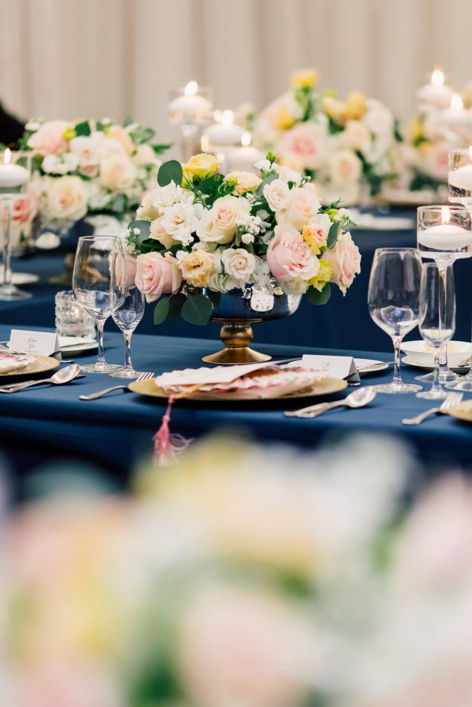 Navy linen and blush flowers at Shangri-La Hotel Toronto