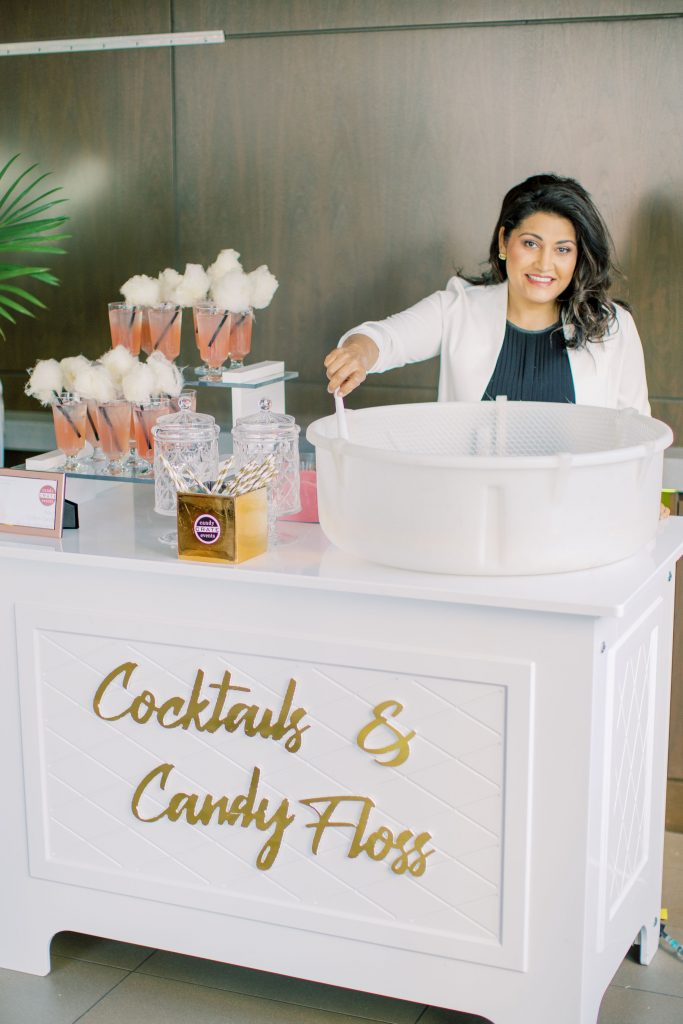 Cotton candy and cocktails station with Candy Crate Events