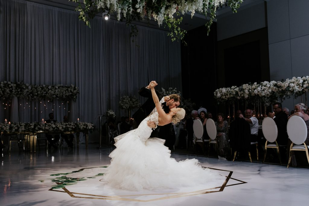 First dance - A luxurious white, gold and black wedding for NHL player Mike Hoffman wedding.
