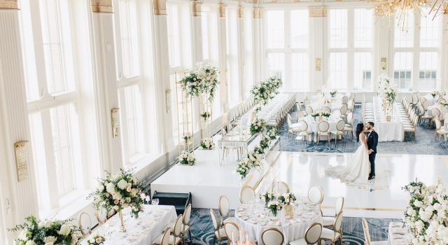 Luxurious white and gold wedding at Omni King Edward Hotel's Crystal Ballroom.