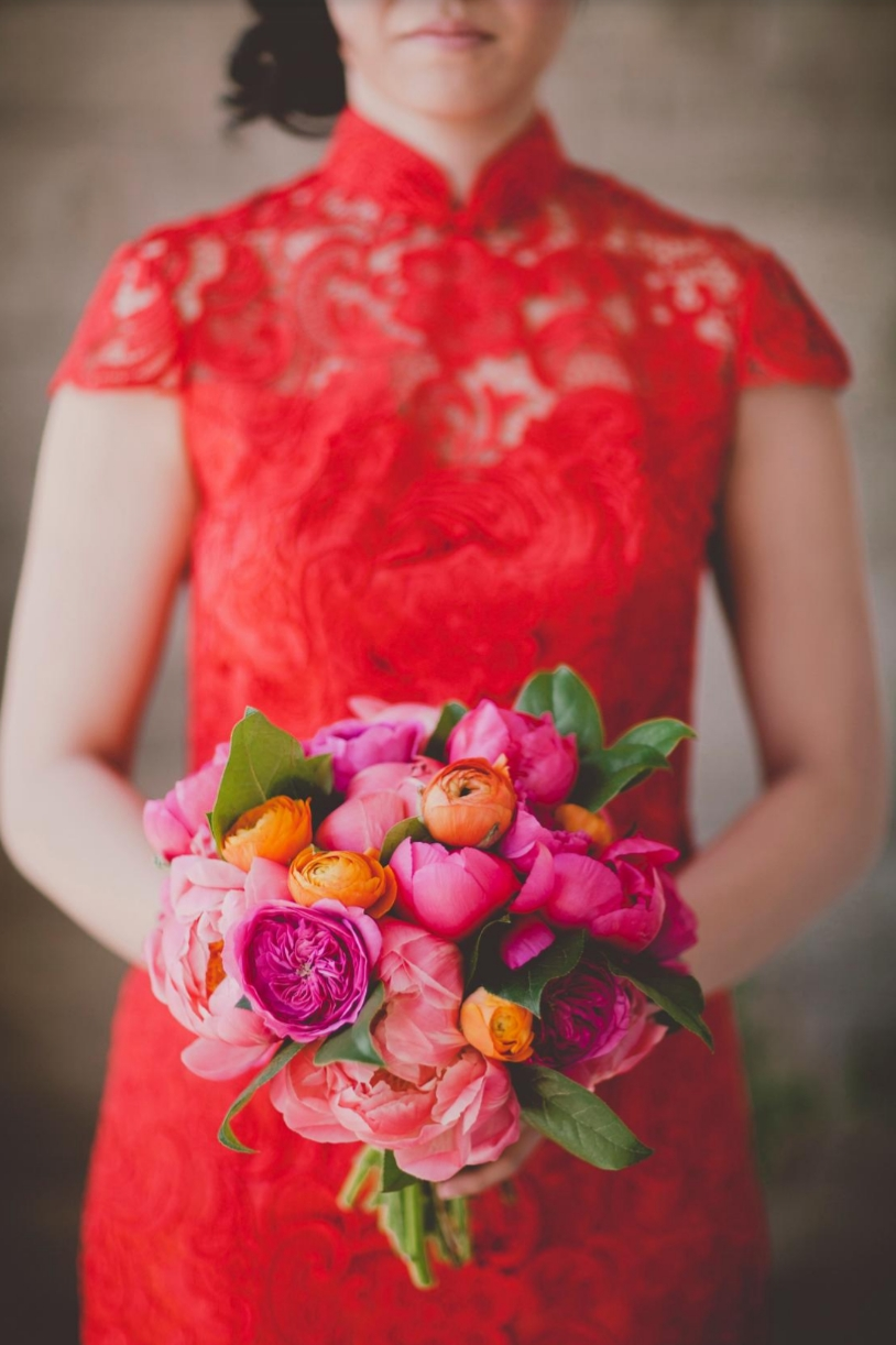 Bright peony bridal bouquet with Chinese dress