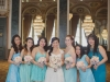 Bride and the bridesmaids in mismatched Tiffany Blue. Rebecca Chan Weddings and Events www.rebeccachan.ca