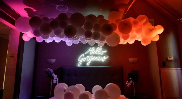 Electric Bedroom photobooth with balloons and LED lighting at One King West Hotel's Summer Social
