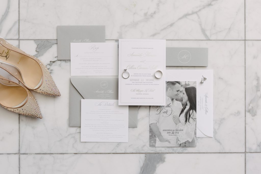 White marble wedding flat lay