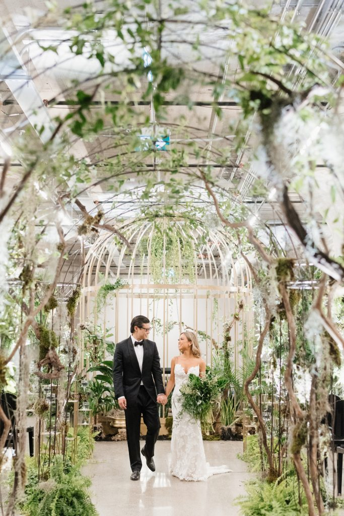 Urban jungle wedding at the Museum of Contemporary Arts with a 12 foot cage.