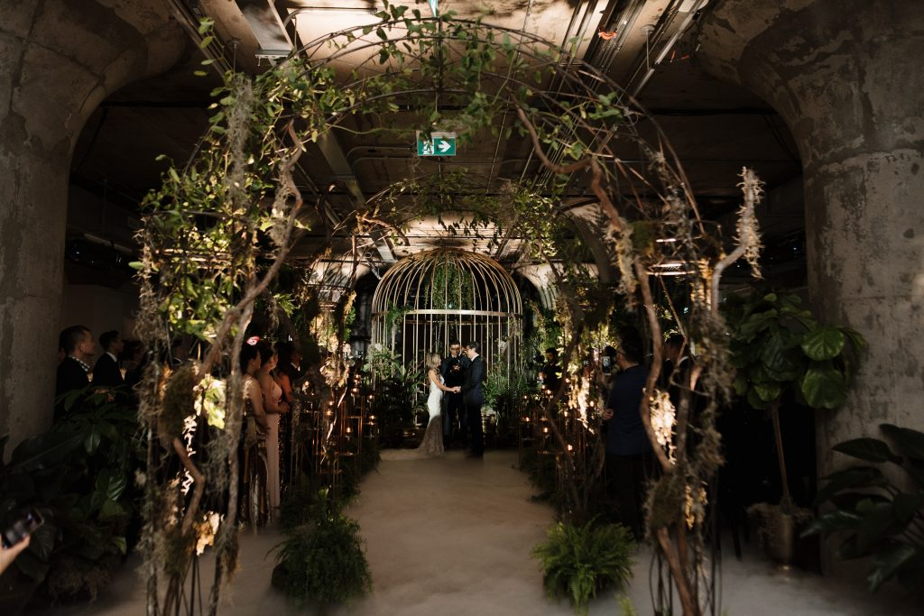 Urban jungle wedding ceremony at the Museum of Contemporary Arts