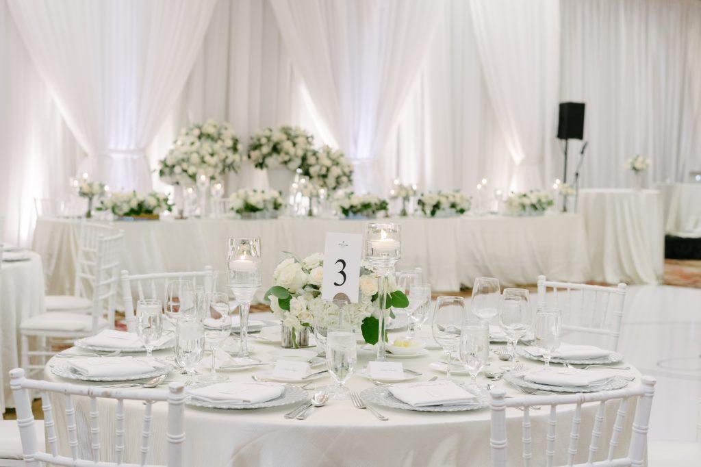 Classic white wedding reception at Shangri-La Hotel Toronto