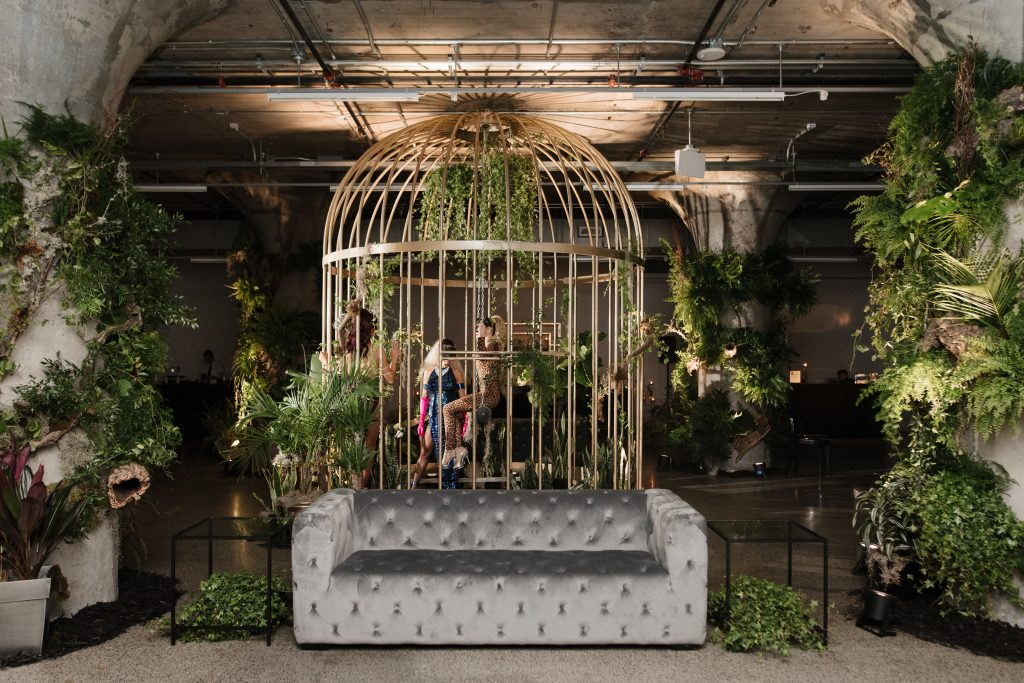 Urban jungle wedding reception at the Museum of Contemporary Arts