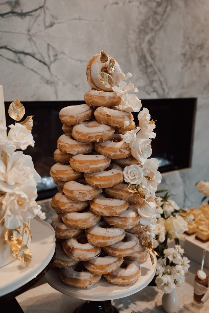 White and gold wedding donut tower