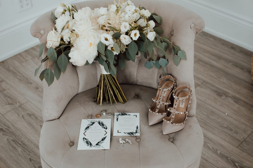 Bridal bouquet and Valentino heels