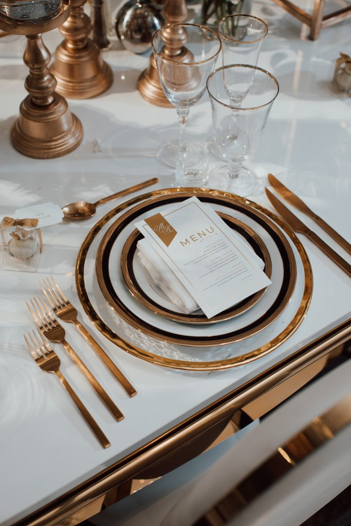A luxurious white, gold and black wedding for NHL player Mike Hoffman wedding.