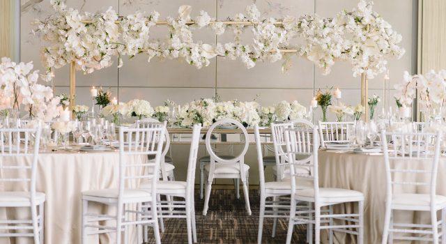 Modern luxurious all white wedding at Four Seasons Hotel Toronto