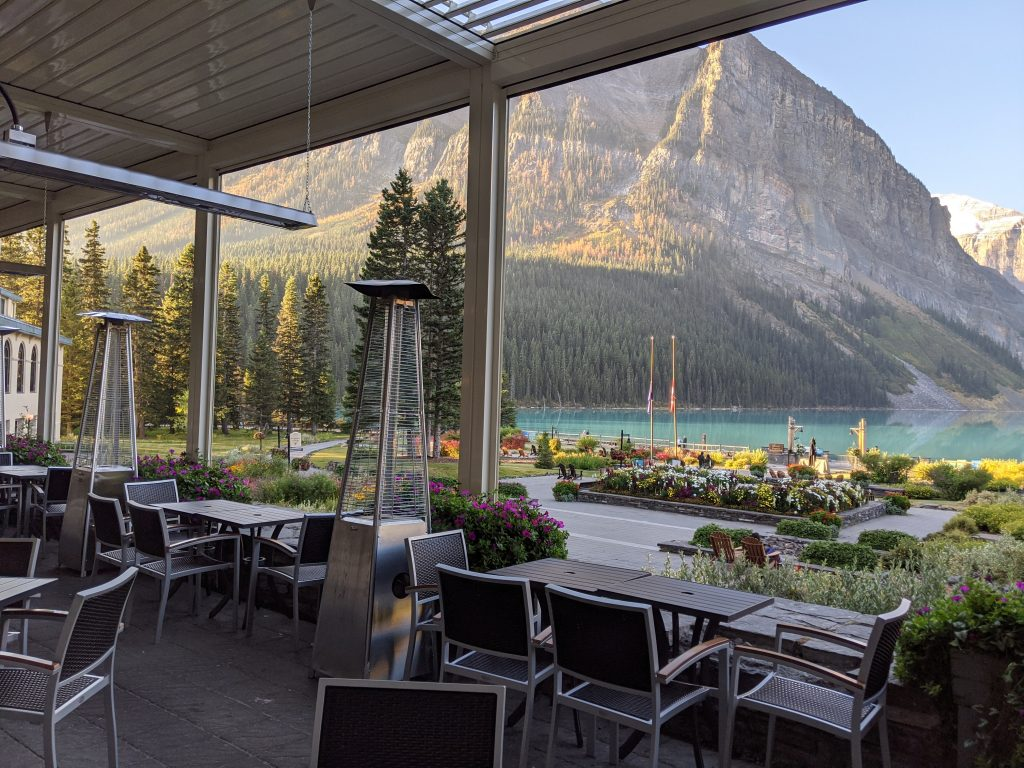 Lake Louise and Banff Honeymoon Guide - Fairmont Lake Louise Lakeview Lounge with outdoor heated patio