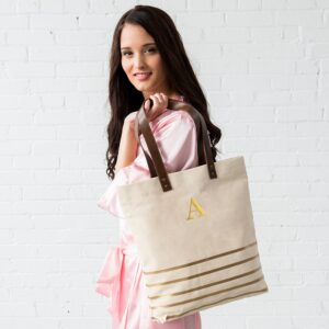 Monogrammed Canvas Tote with Gold