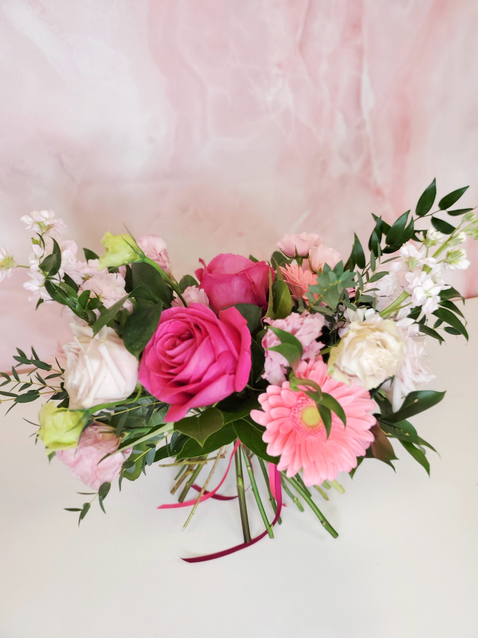 vday-Handtied Bouquet Mixed Pinks