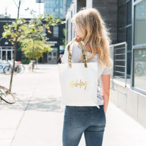 White and Gold Canvas Tote